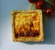 Rich sort crust pastry on a quiche